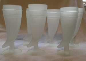 Vtg Art Deco White Frosted Drinking Glass Horn Steins Set Of 6