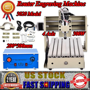 4 Axis Cnc Router Engraver 3020 Metal Wood Drilling Engraving Machine Desktop Us