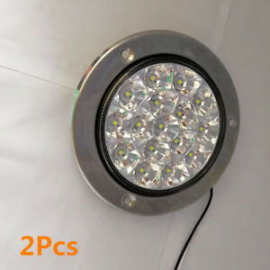 2x White 16 Led Round Clear Lens Truck Trailer Tail Lights Back Up Reverse Lamps