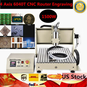 1 5kw 4 Axis 6040t Cnc Router Engraving Drilling Engraver Usb Milling Machine