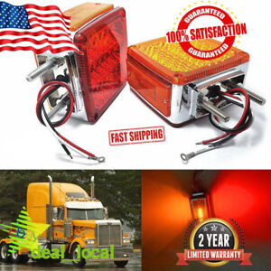 2x Amber red Double Face Stud Mount Cab Fender Stop Turn Signal Tail Light 39led