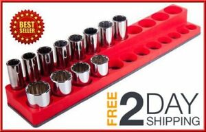 3 8 Inch Drive Magnetic Socket Holder Storage Organizer Holds 24 Tool Red New