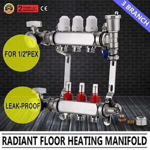 3 branch Pex Radiant Floor Heating Manifold Durable Resistant Stainless Steel