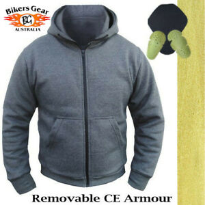 Australian Bikers Gear Motorcycle Hoodie Jacket amp; CE Armour Lined with Kevlar GBP 53.10
