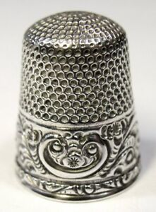 Antique Stern Bros Sterling Silver Thimble Folk Art Scroll Design C1890s
