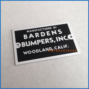 Bardens Bumpers Data Plate Willys Jeep Station Wagon Pick Up M38 M3a1 M170 M606