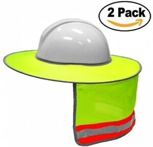 2 Pack Hard Hat Sun Shield full Brim Mesh Neck Sunshade For Hardhats high