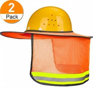 Maxdot 2 Pack Hard Hat Sun Neck Shield Full Brim Sunshade For Hard Hats High