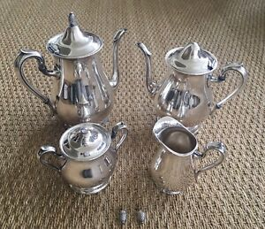 Vtg Reed Barton Jamestown Silverplated Coffee Tea Creamer And Sugar 1800