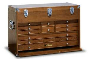 National By Gerstner N 533 Large 11 drawer Oak Wood Tool Chest W handles Us Made