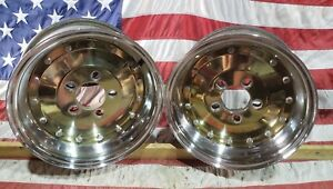 Rare Pair 2 Two Vintage Cragar Sst 14x7 Wheels Rims Gold 4 Offs Front Runners