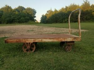 Antique Vintage Industrial Steel Steampunk Factory Cart Table Flatbed Dolly