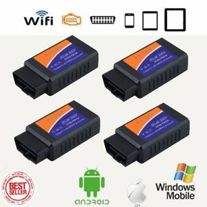 4pc Elm327 Obd2 Bluetooth Interface Auto Scanner Adapter Tool For Ios Android My