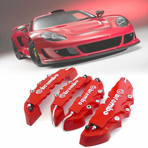 3d Red 4pcs Brembo Style Car Universal Disc Brake Caliper Covers Front