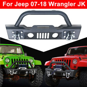 For 07 18 Jeep Wrangler Jk Front Bumper Winch Plate Fog Lights Hole d rings N
