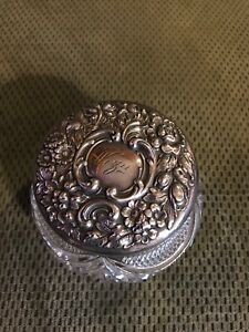 Antique Sterling Silver And Crystal Powder Jar Wiza On Top