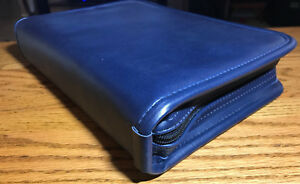 New Executive Zippered 3 ring Binder Padfolio Planner Organizer Navy Blue L k