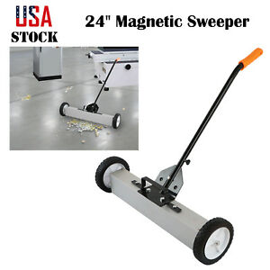 24 Heavy Duty Magnetic Sweeper Roller Pick Up Industrial Tool 33lb Capacity Us