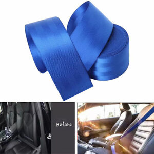 Seat Belt Webbing Polyester Seat Lap Retractable Nylon Safety Strap Blue 3 6m