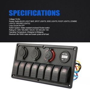 8 Gang Led Car Boat Auto Switch Panel Dual Usb Cigarette Lighter Socket Panel Er