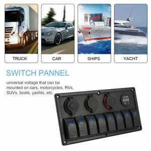 12v 24v 8 Gang Led Car Boat Switch Panel 2 Usb Cigarette Lighter Socket Panel Er
