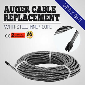 100 Ft Replacement Drain Cleaner Auger Cable Cleaning Pipe Dia 3 8 In