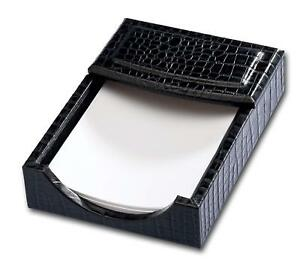 Dacasso Black Crocodile Embossed Leather Memo Holder 4 inch By 6 inch