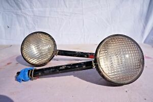 Pair Of Vintage Tractor Lights With Guide Tractor Lenses