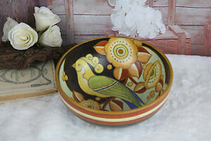 Boch Keramis Catteau Belgian Art Deco 1930 Ceramic Parrot Bird Bowl Marked