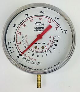 Vintage Sun Chrome Engine Vacuum Pressure Gauge Tester Excellent Condition Usa
