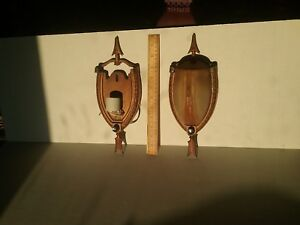 Old Southwestern Pair Slip Shade Wall Sconces W Horseshoe Arrow Bases Rewired