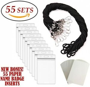 Id Badge Holders And Lanyards 55 Sets Black Lanyard And Vertical Name Tags
