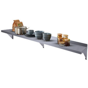 12 x 72 Stainless Steel Kitchen Wall Mount Shelf For Commercial Restaurant Bar