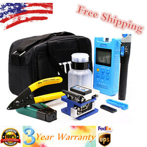 18pcs Fiber Optic Ftth Tool Kit Set Fc 6s Fiber Cleaver Optical Power Meter Us