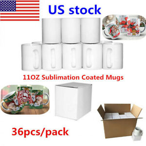 Us A Grade Blank White Mugs 11oz Sublimation Coated Mugs For Heat Press 36pcs
