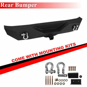 Black Textured Rear Bumper For 2007 2018 Jeep Wrangler Jk With 2 Hitch Receiver