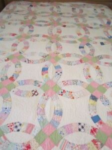 Vintage Double Wedding Ring Quilt 78 X 82