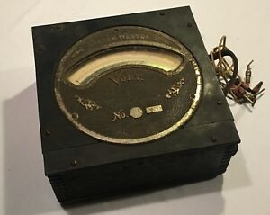 Rare Antique System Weston Wood Box Dc Electric Voltmeter Cast Bronze
