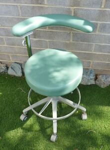 Vintage Medical Dental Doctor Office Patient Exam Rolling Adjustable Stool