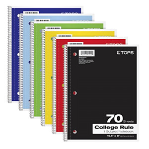Notebooks Spiral 8 X 10 1 2 College Rule Color Assortment May Vary 6 Pack