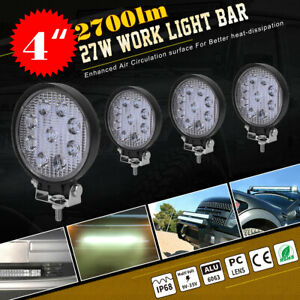 4pcs 4 Inch 108w Spot Round Led Work Light Offroad Fog Driving Drl Suv Atv 27w