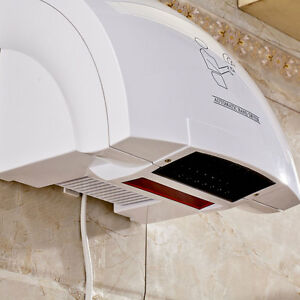 Bathroom Household Automatic Hand Dryer Infared Sensor Hands Drying Device White
