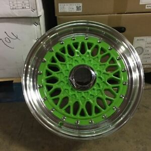 15 Candy Green Rs Style Wheels Rims 4 Lug 4x100 114 3 4x4 5 Brand New Set Of 4