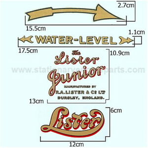 Lister A B Stationary Engine Hopper Cooled Transfer Decal Set Lister Decals