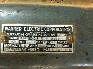 Vtg Antique Wagner Electric Corp Alternating Current Motor Single Phase 11 2 Hp