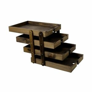 4 Tier Collapsible Vintage Wood Document Tray Organizer Expandable Office