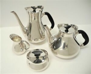 Cohr 1950 S Hans Bunde Danish Modern Sterling Silver Tea Coffee Service Set