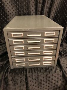 Steel Master Gray Mid Century Office 6 Drawer Flat File Metal Cabinet Usa