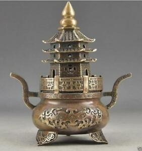 Brass Buddha Exorcism Handwork Old Hammered Pagoda Totem Incense Burner