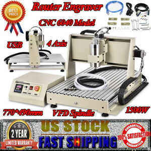 1 5kw 4 Axis 6040 Cnc Router Engraver Engraving Milling Carving Machine Cutter
